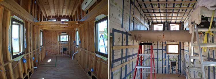 Before and after - Guess who's tiny house is insulated?!