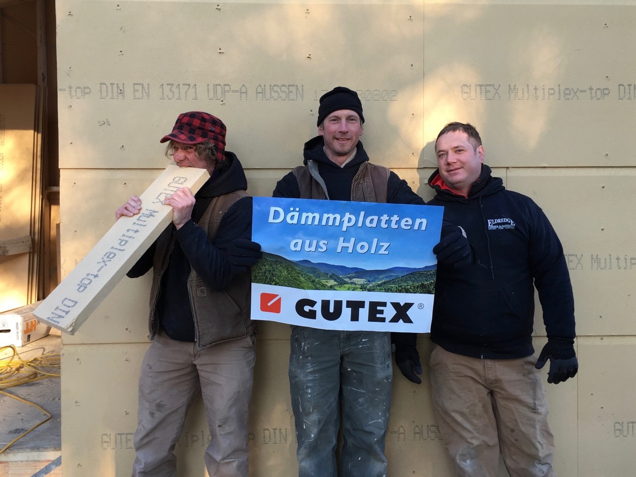 Guys at Kaplan Thompson enjoying working with GUTEX in Maine